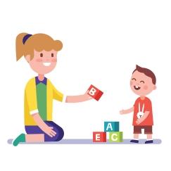Mother or teacher teaching a child alphabet